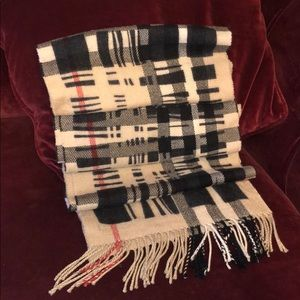 BURBERRY check stripe pattern wool scarf AUTHENTIC